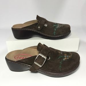 Klogs  Brown Suede Embroidered Mules